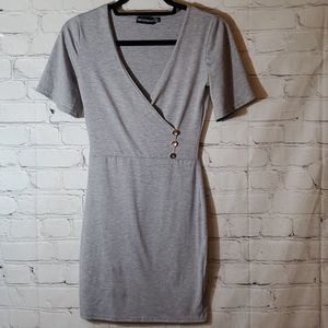 PrettyLittleThing Short Sleeve Grey Tshirt Dress